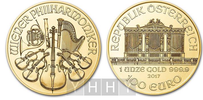 Золотая инвестиционная монета Австрии Венский Филармоникер