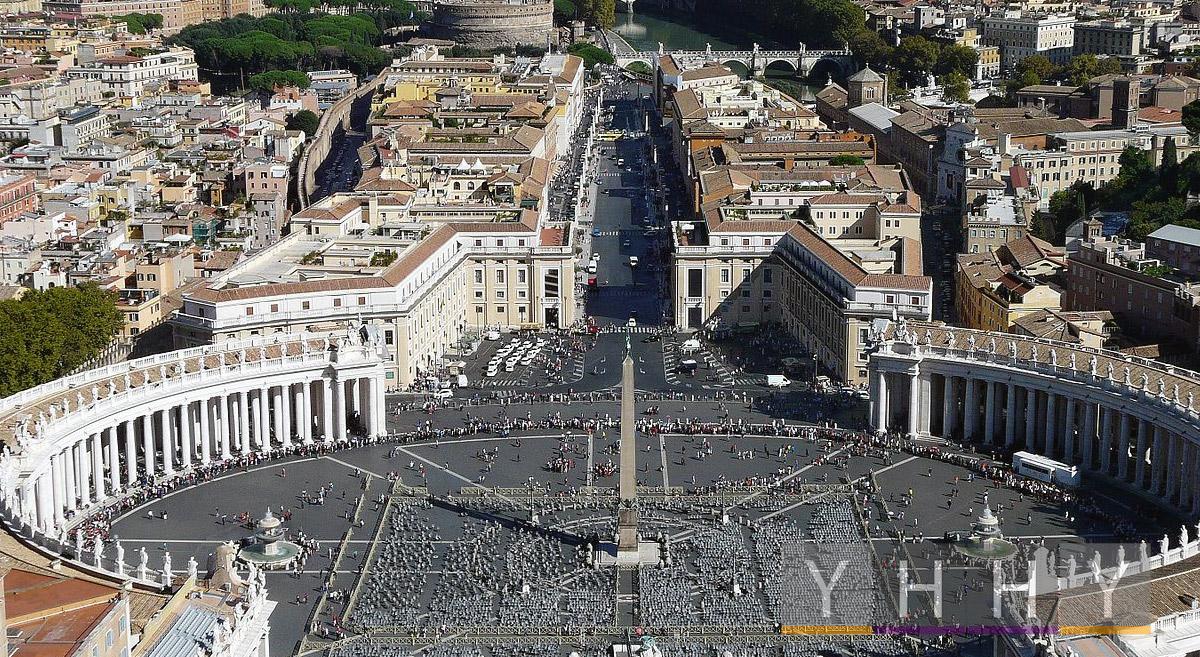 Ватикан: Вид площади Святого Петра с купола собора